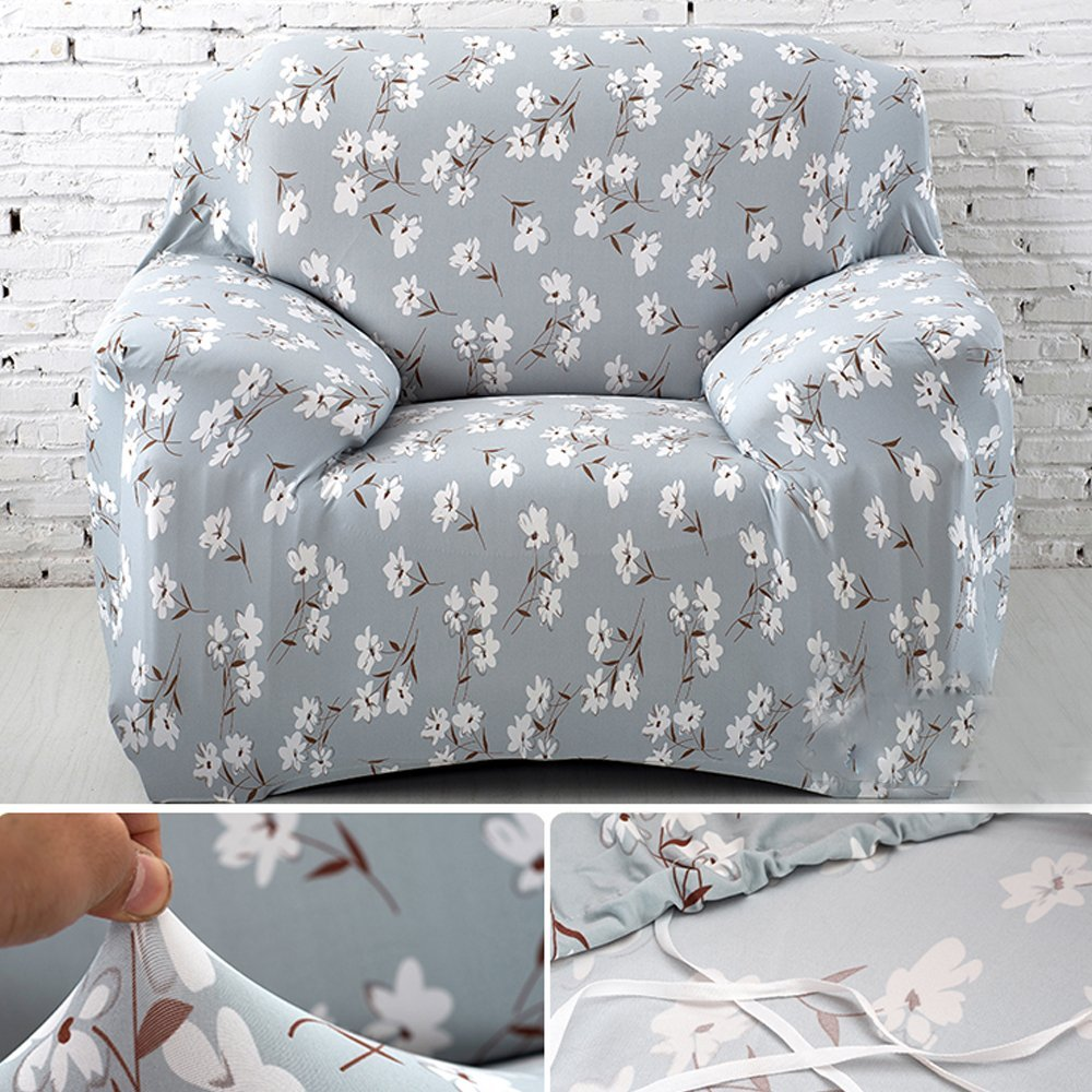 yazi Blue White Floral Washable Elastic Sofa Cover 1/2/3 Seater Couch Stretch Sette Slipcover, Chair