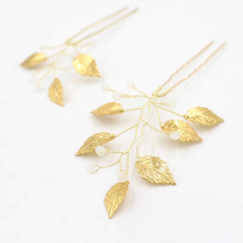 Fashion gold or silver leaves <strong>Hair</strong> Pins Crystal <strong>Hair</strong> Jewellery Wedding Bridal Jewelry <strong>Hair</strong> <strong>Accessories</strong>