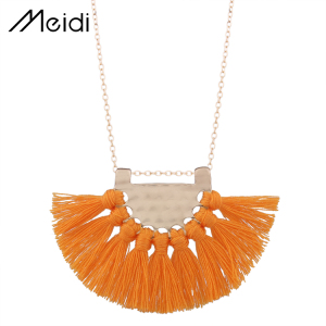 N5979 10 Colors Vintage Elegant Boho Long Orange Color Bohemian Tassel Pendant Long Chain Tassel Necklace for Women Fashion Jewe