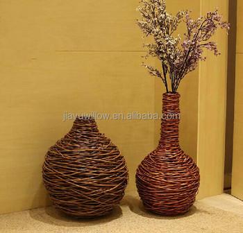handmade wicker decorative flower vase restaurant table flower vase