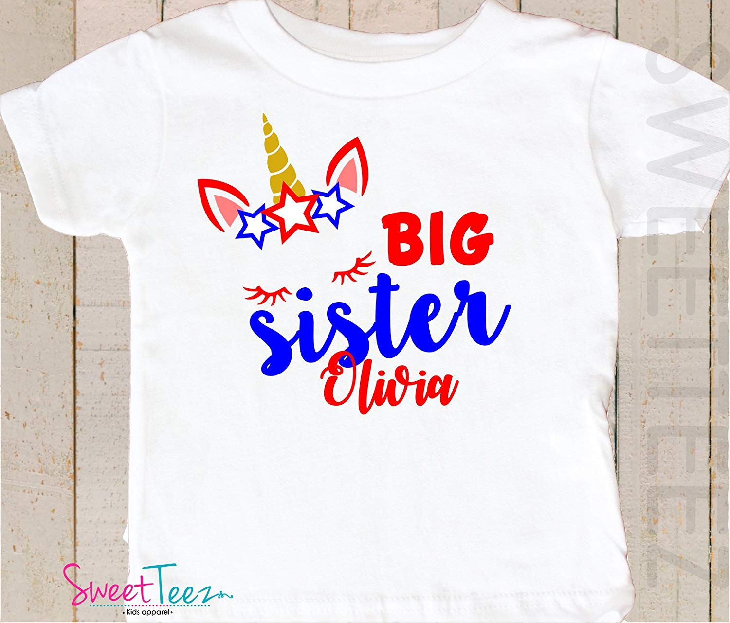 a1653cc9cfc Get Quotations · Big Sister Shirt Personalized 4th Of July Shirt Girl  Unicorn Pregnancy Announcement