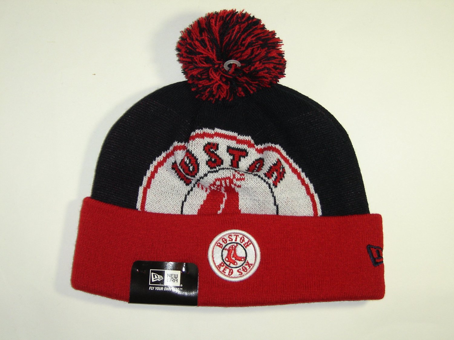 uk availability f924b 9c093 New Era MLB Boston Red Sox Big Logo Cuffed Retro Knit Pom Beanie Cap NewEra