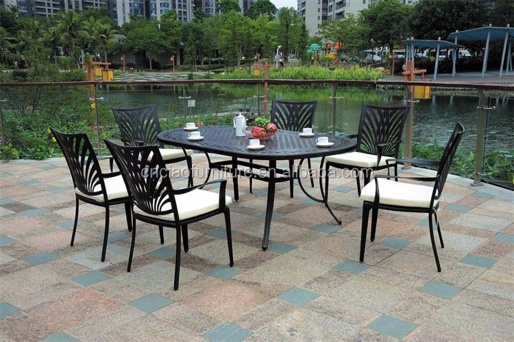 Mesa Ovalada Muebles De Exterior De Aluminio Fundido Para Proyectos ...