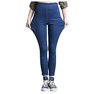 Women Jeans - SODIAL(R)Woman's Fashion Leggings Summer Autumn High Waist Elastic plus Size women Skinny jeans denim pants(dark blue,2XL/US-8)
