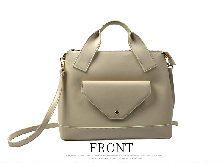 handbag factory genuine leather beige customized fashion front pocket lady handbag