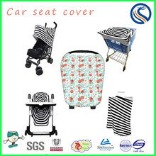 Stretchy Breastfeeding nursing cover cotton baby stroller cart cover stripe car seat cover
