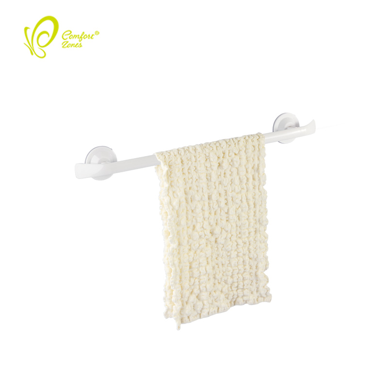 Fancy Bathroom Accessories Plastic Single Towel Hanger Holder Suction Cup Towel Bar