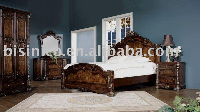 Matrimonio Bed Queen : Nuevo estilo antigua cama de madera matrimonio