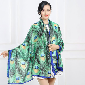 2018 New style silk scarves in spring and summer,Green Peacock Feather Print Scarf Shawl sunscreen beach towel wholesale