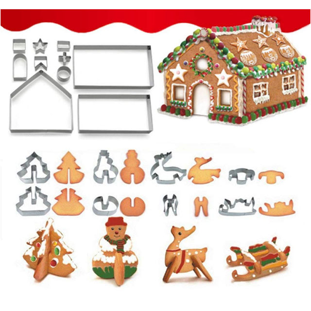 3D Christmas Biscuit Tools Stainless Steel Gingerbread House Cookie Cutter set mold