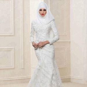 DW006 Long Sleeves Lace Hijab arab Muslim Wedding Dresses Elegant Islamic Wedding Gowns
