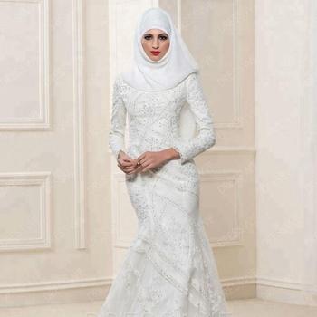 Dw006 Long Sleeves Lace Hijab Arab Muslim Wedding Dresses Elegant ...