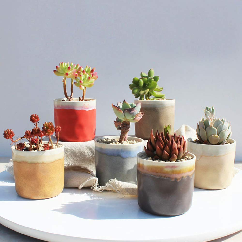 Better-way Shabby Chic Ceramic Ice Crack Succulent Cactus Plant Pot Round Cylinder Butterfly Orchid Planter Ceramic Container for Indoor Plants (3.3 Inch)