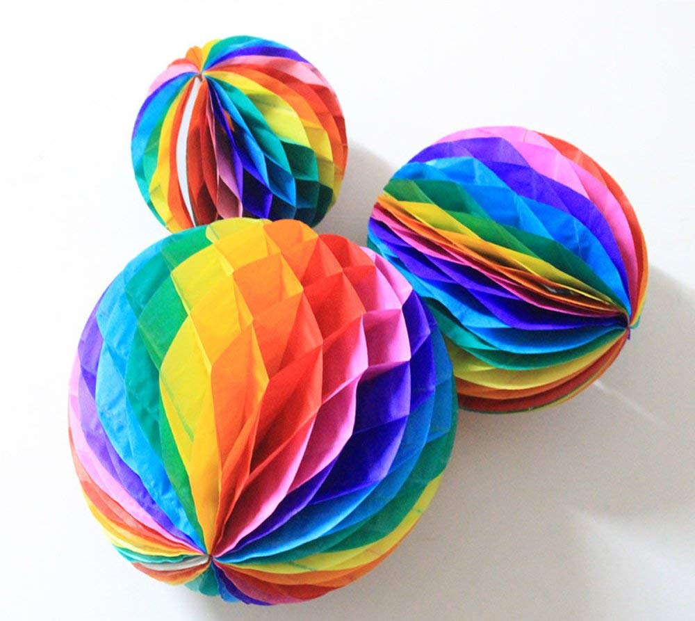Tissue Paper Honeycomb Balls Rainbow Colors Tissue Paper Flower Ball - Birthday ,Wedding ,Party Decor, Tissue Paper Flowers Kit,Pom Poms Decoration (6'',8'',10'',Pack of 3)