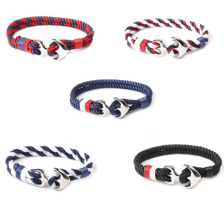 Nylon string silver anchor bracelet stainless steel hook men bracelet custom logo