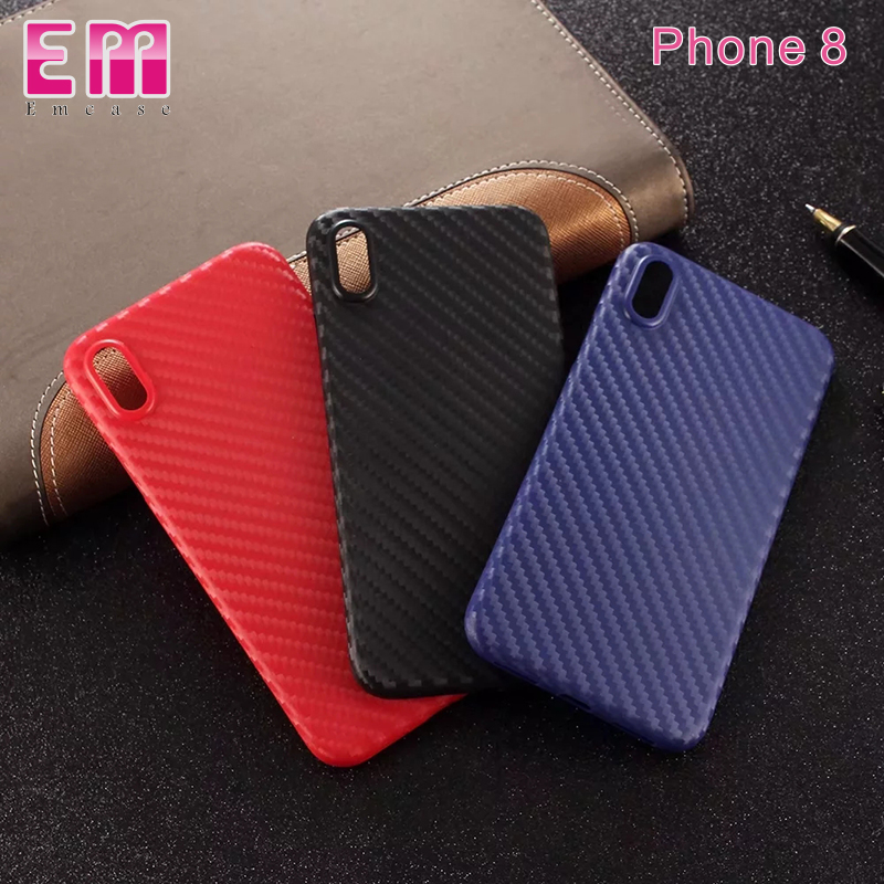 For iPhone 8 case low MOQ carbon fiber design TPU phone case For iPhone 8