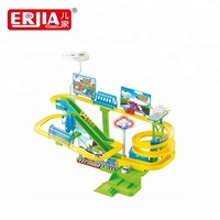 Urban orbital park racing game electric slot car toy with assemble set