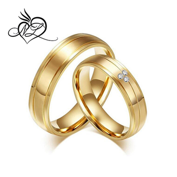 18k Gold Plated Mens Stainless Steel Wedding Bands For Him And Her Womens Cubic Zirconia