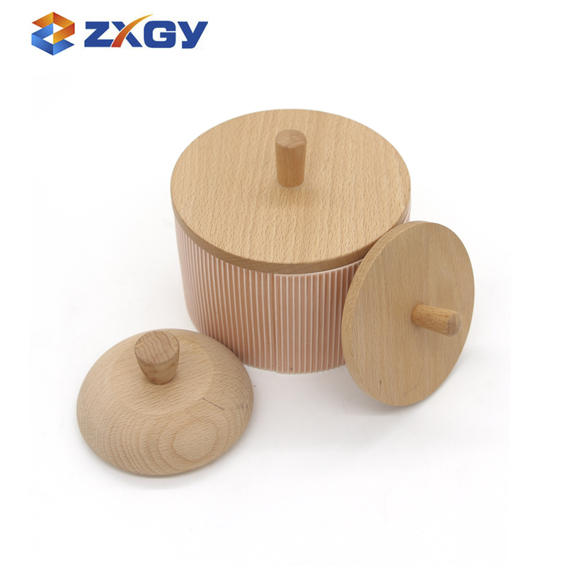 Natural Round Beech Wooden Lid With A Handle For Seal Pot
