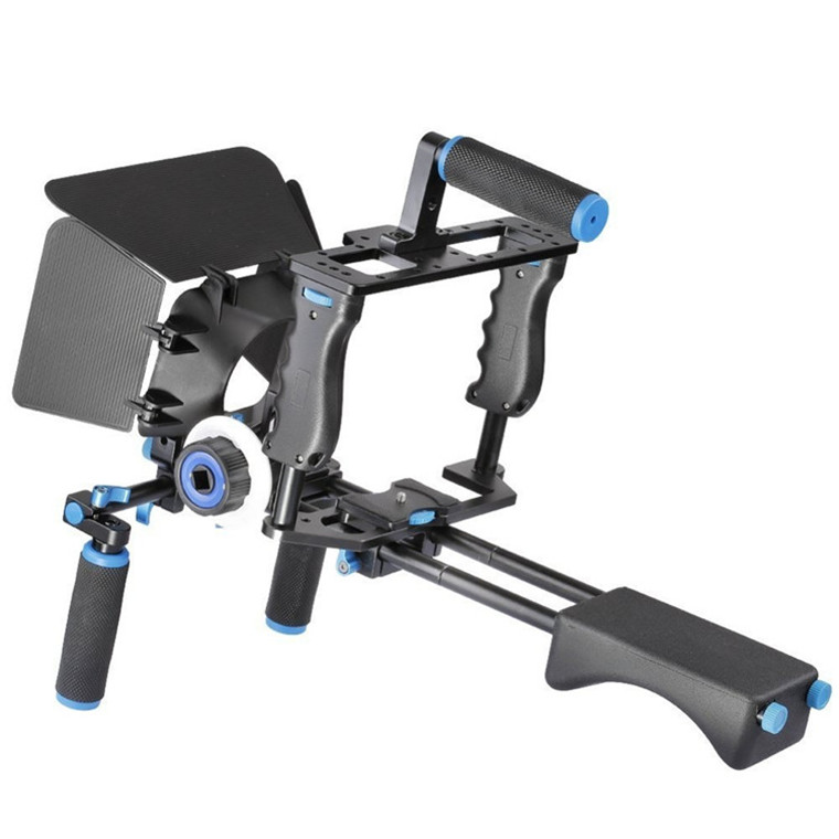 Rundour High quality camera stabilizer camera dslr shoulder mount rig+ matte box + follow focus + cage for DSRL canon
