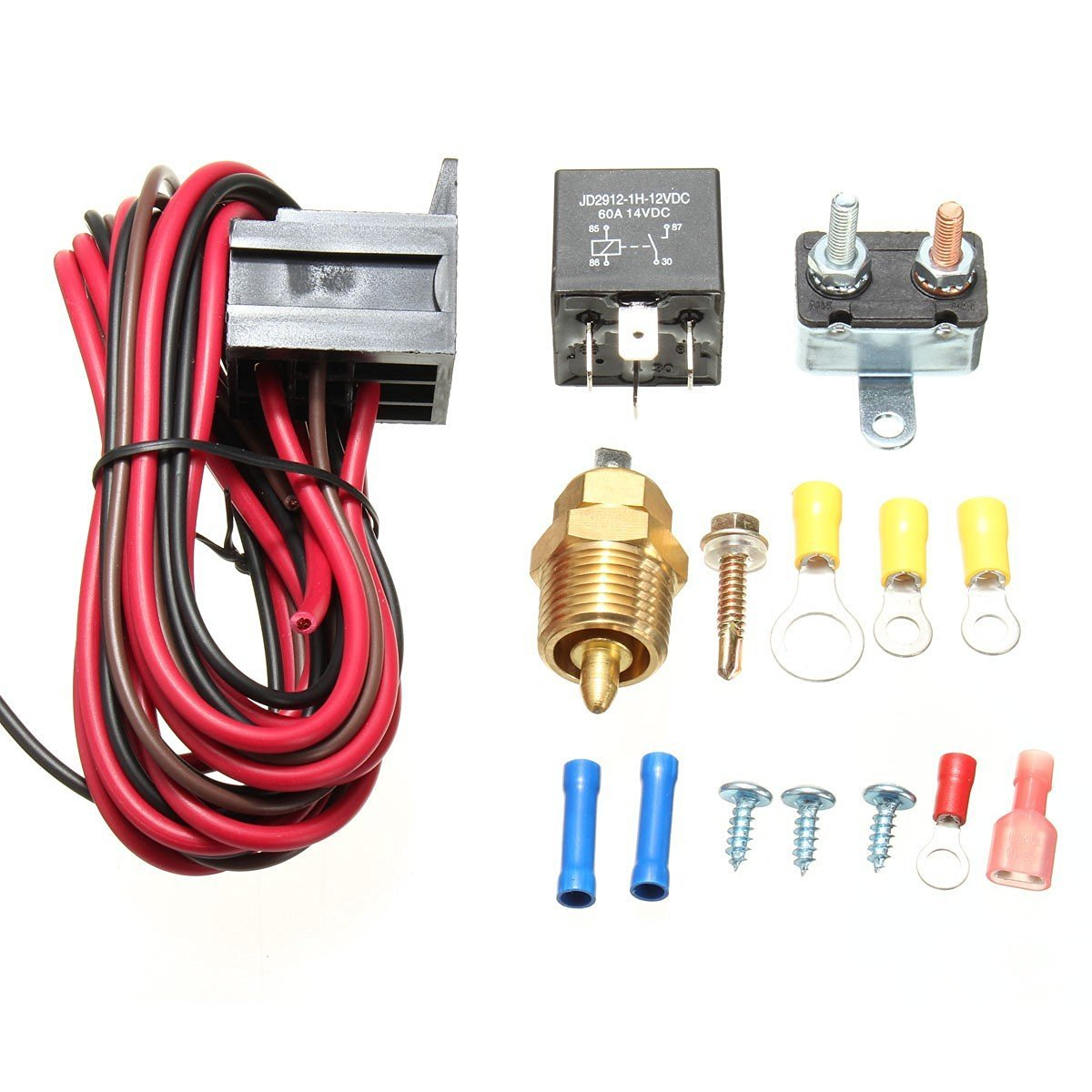 American Volt 185 Degree Engine Thermostat Temp Sensor Switch 3//8 Npt Radiator Cooling Fan