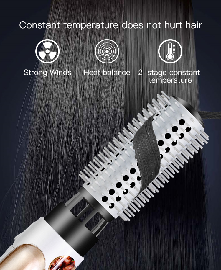 New Ideal Products 2019 Hair Style Smoothly Temperature Adjust Electric Brush 2 in 1 Hot Air Brush Hair Dryer With 110V And 220v