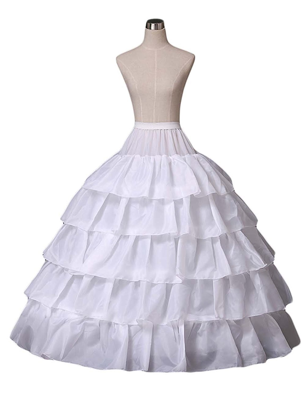 53d3b0f6b391b Yikaya Women 4 Hoops Skirt Crinoline Petticoats 5 Slip Ruffles Bridal  Petticoat Skirt for Wedding Gown