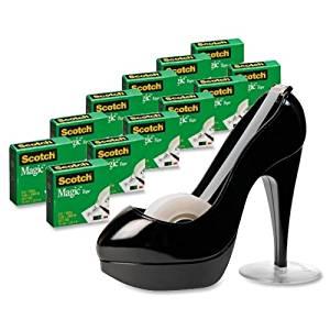"Wholesale CASE of 5 - 3M Scotch Black Stiletto Shoe Tape Dispenser/Tape-Magic Tape Shoe Dispnr Value Pack,w/ 12 Rolls,3/4""x100"",BK"