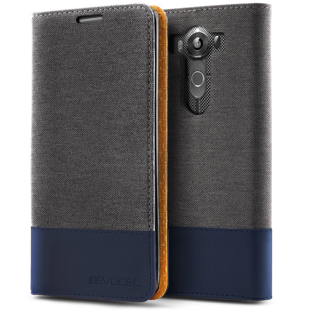 LG V10 Case, Evocel® [The Folio Series] 2-Tone Stylish Folio Case [Flip][Easy-Open] Seamless Magnetic Closure [Textured][Kickstand] Prop-Up Feature For LG V10, Charcoal