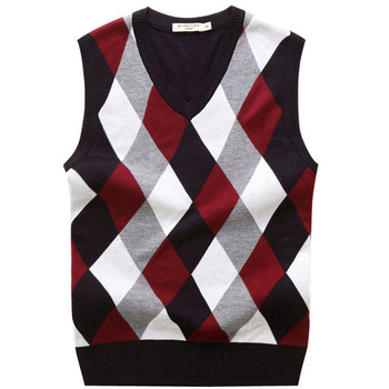 The New Men Sweater Vests Render Men Vest V-neck Checked Vest ...