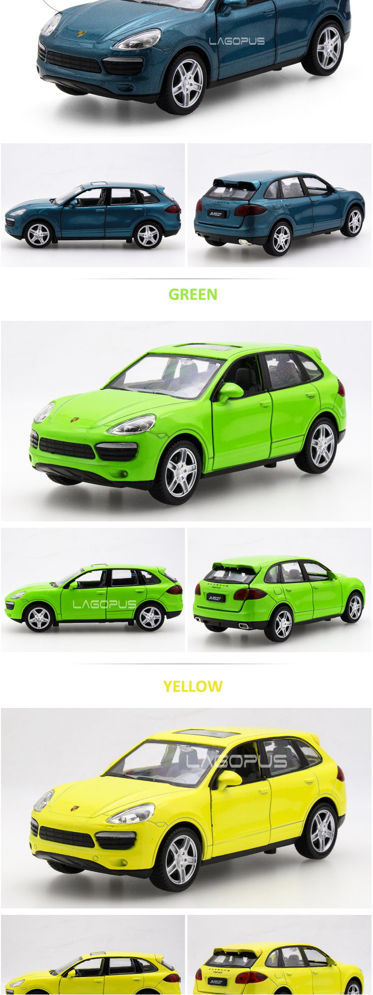 christmas gift lagopus 1:32 Porsched Cayennes New Diecast ABS Alloy Metal Car Model Open Door Sound with Light Pull Back Boy Toy