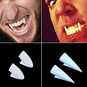BBTO 24 Pairs Vampire Teeth Fangs Halloween Party Cosplay Dentures Prop Decoration Horror False Teeth Props with Teeth Pellets Adhesive for Halloween Costume Party Favors 13//15// 17//19 mm White