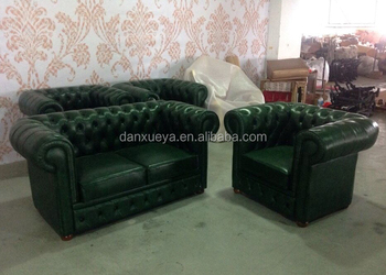Green Leather Sofa Chesterfield For