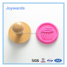 New design office colorful custom silicone pastry cookie stamp FDA wood handle Silicone Stamp