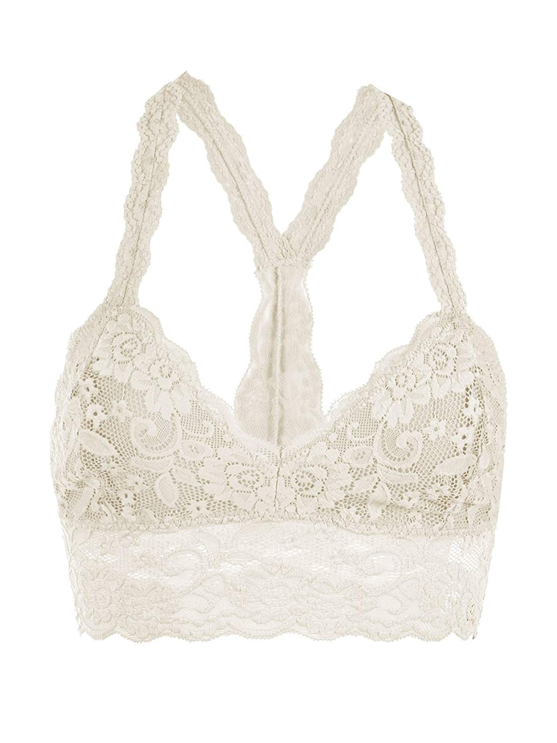 2b4b750a8c057 Get Quotations · Floral Lace Racerback Unpadded Bralette Top Sheer Bustier  Crop Wireless Lingerie Bra (Medium