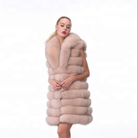 gentlewoman style long pink fox fur vest with turndown collar