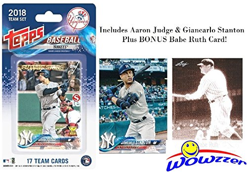 New York Yankees 2018 Topps Baseball EXCLUSIVE Special Limited Edition 17 Card Complete Team Set with AARON JUDGE, GIANCARLO STANTON,Gary Sanchez, Frazier RC & More Plus BONUS BABE RUTH Card! WOWZZER!