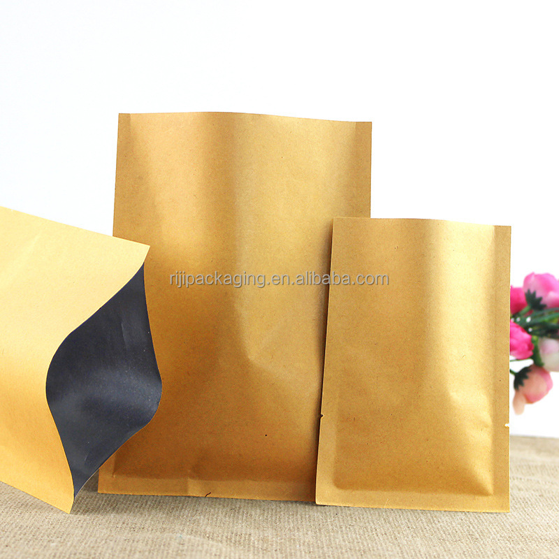 Wholesale waterproof kraft paper foil lined bag three side seal pouch