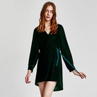 New trend fashion look customized casual color hooded women long green velvet dress with hats