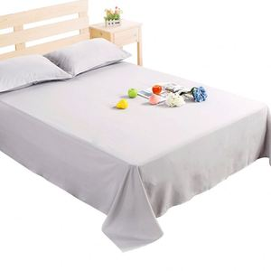 Top quality cheap plain white cotton hotel single custom bed cotton sheets