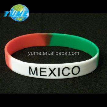1a56b8bb6049 Copa del Mundo banderas de encargo pulsera de silicona México pulsera de  silicona