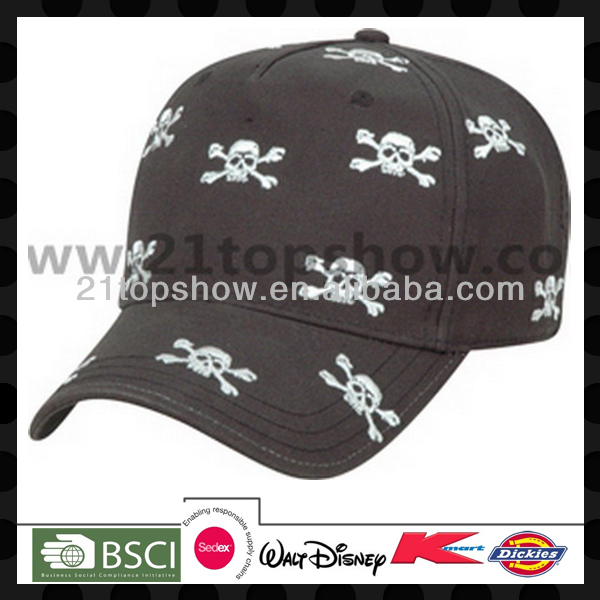 Custom 5-panel skull printed hip hop cap