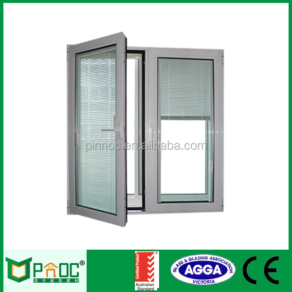 Aluminium built in blind casement window with double tempered glass