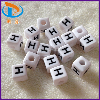 Wholesale New Design Fashion 6*6MM Single Letter H Cube Beaded ...