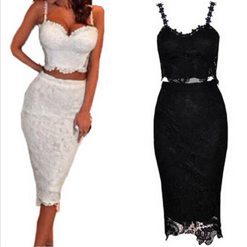 11285b84e1615 Get Quotations · 2 Piece Set Women White Lace Dress Knee Length Sexy Midi  Bodybon Dress Black Club Wear