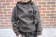 Sping Autumn Children Hoodies Korean Dashing Inclined Zipper Kids Hoody Outwear Grey And Dk Blue Colour