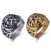Silver&Black Man Ring Animal Lion Steel Time Jewelry Old Design Ring