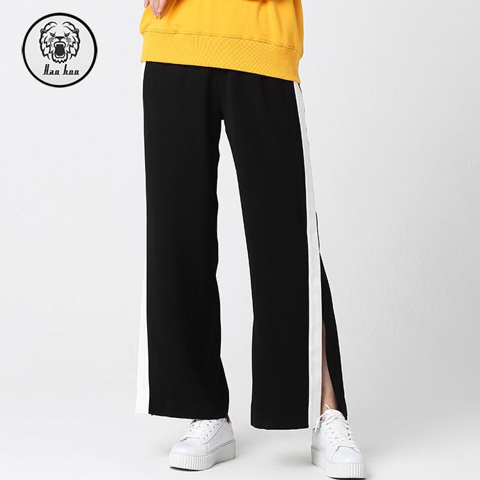 Hohe Taille gestreifte lose Damen-weites Bein-beiläufige Hosen neue modische Kleidung des Frühlinges