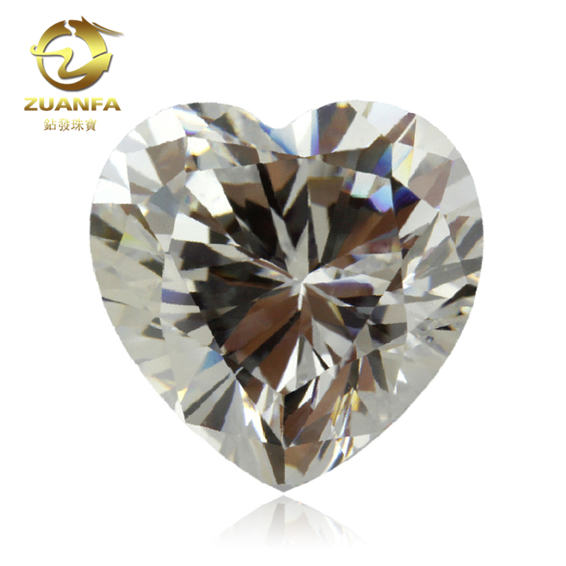 Heart Shape cubic zirconia russian loose white synthetic CZ