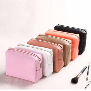 Custom cosmetic bag PU material rectangle man makeup pouch